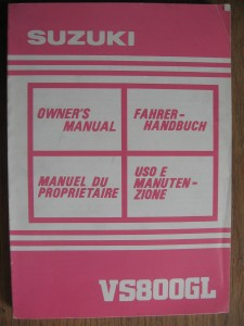 Suzuki origineel owners manual uit SEPTEMBER 1991	VS800GL		99011-39A50-18R