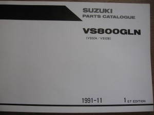 suzuki origineel parts catalog / manual  uit 1991-11 1e editie 	VS800GLN 1992	/ vs52A , vs52B,	9900 B-330088