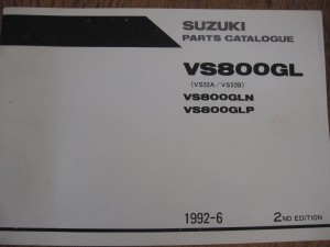 suzuki origineel parts catalog / manual  uit 1992-6 2e editie 	VS800GLN 1992-1993	,VS52A/VS52B	,9900 B-30088-010